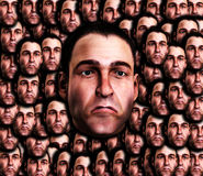 Lots Of Very Sad Male Faces 5. A conceptual image of a set of mens face, that are very sad Stock Photography
