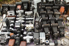 Lots of vintage cameras and lenses Royalty Free Stock Photos