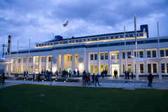 Thursday night in Seattle. Lots of visitors were leaving the Museum of History and Industry on Thursday night. The museum was reopened after moving to this new Stock Photo