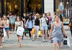 Lots of walking people in Oxford street, London Stock Photography