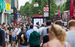 Lots of walking people in Oxford street, London Royalty Free Stock Image
