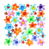 Lots watercolor flowers Stock Photo