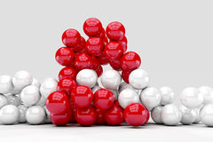 Lots of white and red balls interact Stock Image