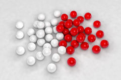 Lots of white and red balls interact Stock Photos