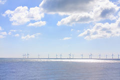 Lots of wind turbines in a row Stock Photos