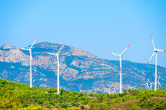 Lots of windmills in mountains Royalty Free Stock Photography
