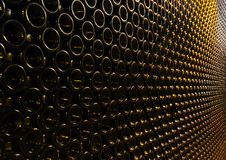 Lots of wine bottles stacked Royalty Free Stock Images