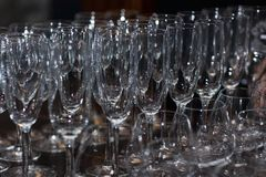 Lots of wine glasses Stock Photo