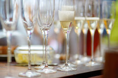 Lots of wine glasses during festive event Stock Image