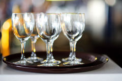Lots of wine glasses during some festive event Royalty Free Stock Photos