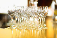Lots of wine glasses during some festive event Stock Image