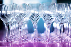 Lots of wine glasses during some festive event Royalty Free Stock Photography