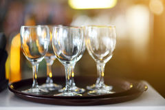 Lots of wine glasses during some festive event Stock Images