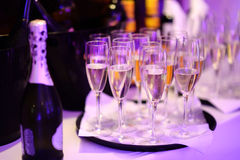 Lots of wine glasses during some festive event Royalty Free Stock Images