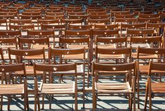 Lots of wooden chairs Royalty Free Stock Photos