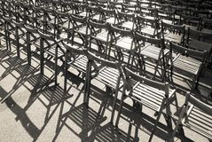 Lots of wooden chairs Royalty Free Stock Images