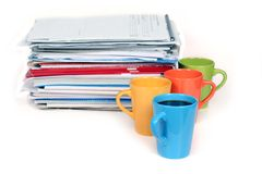 Lots of work? Take a break!. Stack of papers and 4 cup of coffee stock image