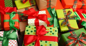 Lots of xmas gift boxes, colorful background Stock Image
