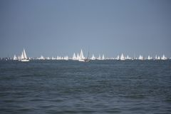 Lots of yachts sailing at the start of the round the island race 2014 Royalty Free Stock Images