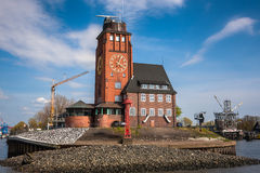 Lotsenhaus Seemannshöft Hamburg. Beautiful traditional brick building - is an observation tower on Seemannshoft at the entrance to the port of Hamburg Royalty Free Stock Photography