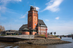 Lotsenhaus Seemannshöft Hamburg. Beautiful traditional brick building - is an observation tower on Seemannshoft at the entrance to the port of Hamburg Royalty Free Stock Photos
