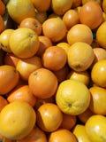Lott av apelsinen på försäljning i supermarket Royaltyfria Bilder