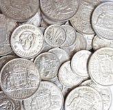 Lott av australierPredecimal silvermynt Royaltyfria Bilder