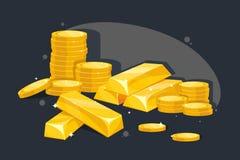 Lott av guld- stänger och mynt stock illustrationer