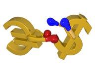 Lotta d'inscatolamento dell'euro con il dollaro Immagini Stock Libere da Diritti