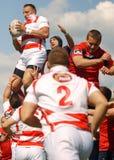 Lotta dei giocatori di rugby per la palla Immagine Stock