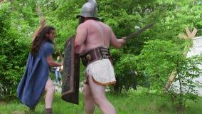 Lotta dei gladiatori stock footage