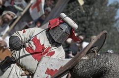 Lotta del cavaliere sul festival di cultura medievale Fotografia Stock Libera da Diritti