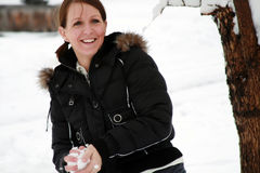 Lotta della palla di neve Fotografie Stock