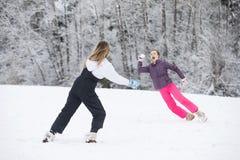 Lotta della palla di neve nell'inverno Fotografia Stock Libera da Diritti