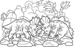Lotta divertente dei dinosauri Immagini Stock Libere da Diritti