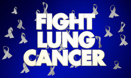 Lotta Lung Cancer Disease Ribbons Words illustrazione vettoriale