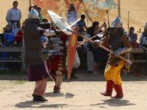Lotta medievale dei guerrieri Fotografia Stock