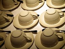 A lotta tea cups. Landscape photo of up-turned tea cups stock photography