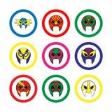 Lottare messicano maschera l'icona su un fondo bianco Immagine Stock