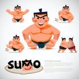 Lottatore di sumo nell'insieme di azione progettazione di carattere, traditi giapponese Fotografia Stock Libera da Diritti