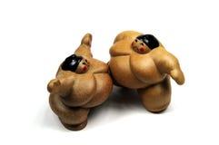 Lottatori di Sumo nel combattimento Immagini Stock