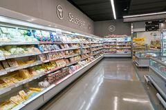 Lotte Mart. BUSAN, SOUTH KOREA - MAY 25, 2017: inside a Lotte Mart in Busan. Lotte Mart is an east Asian hypermarket that sells a variety of groceries, clothing Stock Image