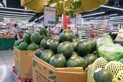 Lotte Mart. BUSAN, SOUTH KOREA - MAY 25, 2017: inside a Lotte Mart in Busan. Lotte Mart is an east Asian hypermarket that sells a variety of groceries, clothing Royalty Free Stock Photo