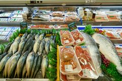 Lotte Mart. SEOUL, SOUTH KOREA - CIRCA MAY, 2017: fish on display at Lotte Mart in Seoul. Lotte Mart is an east Asian hypermarket that sells a variety of royalty free stock images