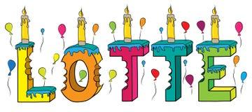 Lotte nome fêmea 3d colorido mordido que rotula o bolo de aniversário com velas e balões ilustração stock