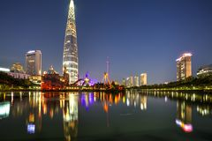 Seoul city, Korea. Lotte Tower, the tallest building in Seoul, South Korea at the blue hour Royalty Free Stock Photography