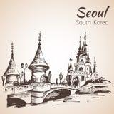 Lotte World-recreatie complex in Seoel, Zuid-Korea royalty-vrije illustratie