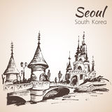 Lotte World recreation complex in Seoul, South Korea. Lotte World recreation complex in Seoul, hand drawn - South Korea. Sketch.  on white background Stock Image