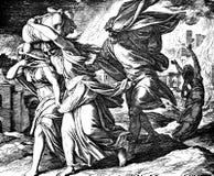 Lotten flyr Sodom Gomorrah arkivfoto