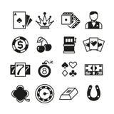 Lotteria, roulette, casinò, slot machine, icone di gioco di vettore Immagine Stock